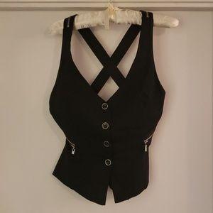 bebe buttoned Vest/Gilet Criss Crossed back detail